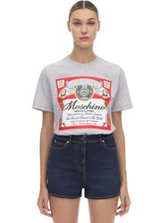 Moschino Oversize Printed Cotton Jersey T Shirt Grey
