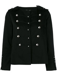 Twin Set Double Breasted Military Jacket Black