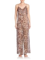 Josie Natori Shadow Leopard Silk One Piece Pajama