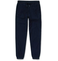 Folk Tapered Drawcord Cotton Corduroy Trousers Blue