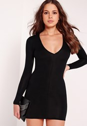 Missguided Plunge Long Sleeve Bodycon Dress Black Black