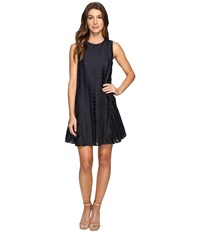 Donna Morgan Sleeveless Dot Burnout Jacquard Sleeveless Trapeze Dress Marine Navy Women's Dress