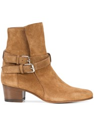 Amiri Double Strap Ankle Boots Suede Leather Brown