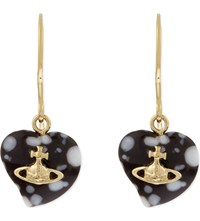 Vivienne Westwood Liz Heart Shaped Drop Earrings Brown And White Gold
