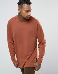 Asos Pique Oversized Long Sleeve T Shirt With Acid Wash Rust Red