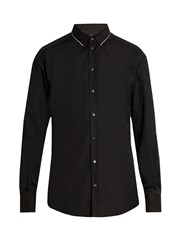 Dolce And Gabbana Gold Fit Single Cuff Cotton Blend Shirt Black