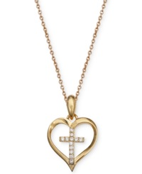 Macy's Cubic Zirconia Heart Cross Pendant Necklace In 18K Gold Over Sterling Silver