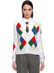 Thom Browne Multicolor Argyle Cashmere Knit Cardigan