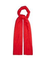 Allude Fine Knit Fringed Cashmere Scarf Red