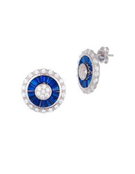 Lord And Taylor White Blue Cubic Zirconia Circle Earrings Silver Blue