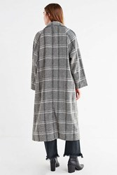 Urban Outfitters Uo Dorothy Long Plaid Overcoat Grey Multi