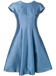 Emporio Armani Metallic Flared Dress Blue