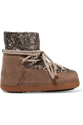 Ikkii Shearling Lined Sequined Leather And Suede Boots Nude