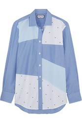 Paul And Joe Patchwork Striped Cotton Shirt Blue