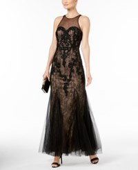Betsy And Adam Lace Soutache Gown Black Nude