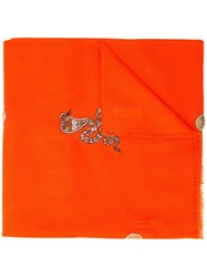 Janavi Snake Embroidered Scarf Orange