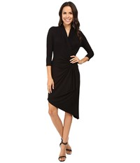 Karen Kane Asymmetrical Cascade Wrap Dress Black Women's Dress