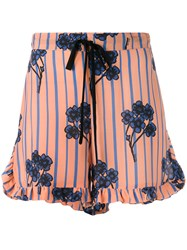 L'autre Chose Ruffle Trim Floral Print Shorts Yellow Orange