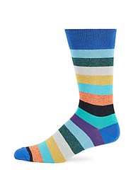 Saks Fifth Avenue Made In Italy Jaspe Wide Striped Socks Blue