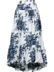 Sonia Rykiel Flared Floral Skirt Women Cotton 36 White