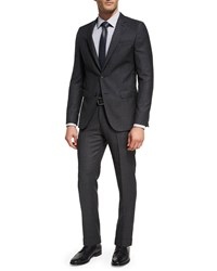 Boss Birdseye Striped Wool Two Piece Suit Charcoal