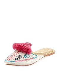 Figue Joanna Embroidered Mule Slide White Pattern