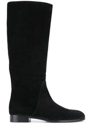 Sergio Rossi Knee Length Flat Boots Women Leather Suede Rubber 37.5 Black