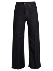 Red Valentino High Rise Wide Leg Cropped Jeans Indigo
