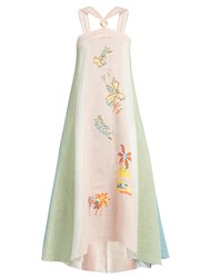 Peter Pilotto Embroidered Striped Linen Halterneck Dress Pink