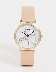 Cluse La Roche Marble Pink And Rose Gold Leather Watch