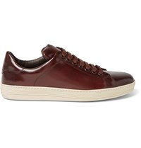 Tom Ford Russel Polished Leather Sneakers Brown