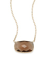 Saks Fifth Avenue Smokey Quartz And 14K Yellow Gold Necklace