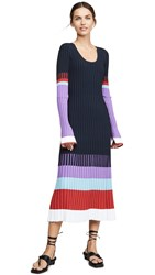 Prabal Gurung Scoop Neck Colorblock Dress Indigo Multi