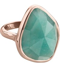 Monica Vinader Siren 18Ct Rose Gold Vermeil And Amazonite Nugget Cocktail Ring