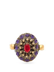 Alexander Mcqueen Crystal Embellished Ring Gold