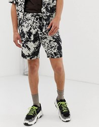 Mennace Co Ord Shorts In Splash Print Black