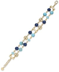 Charter Club Gold Tone Blue Bead Two Row Link Bracelet Only At Macy's