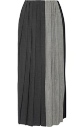 Facetasm Pleated Paneled Wool Midi Skirt Gray