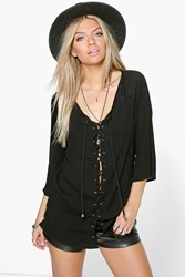 Boohoo Lace Up Crinkle Blouse Black