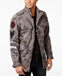 Guess Men's Irwell Feather Graphic Print Jacket Chief Feathers Grey