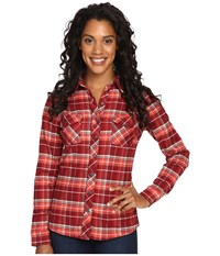 Kuhl Alina Flannel Shirt Red Spice Women's Long Sleeve Button Up Brown