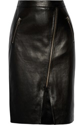 Mason By Michelle Mason Asymmetric Leather Pencil Skirt Black