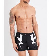 Neil Barrett Thunderbolt Swim Shorts Black White