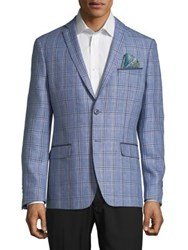 Tallia Orange Windowpane Slim Fit Linen Sportcoat Blue
