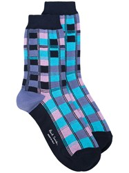 Paul Smith Squared Effect Socks Women Cotton Polyamide Spandex Elastane One Size Blue