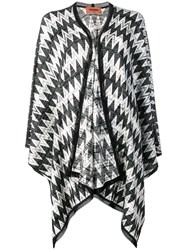 Missoni Knitted Geometric Patterned Shawl Black