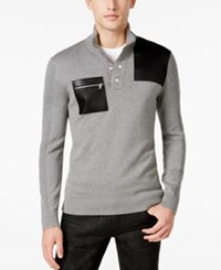 Inc International Concepts Men's Faux Leather Trim Snap Sweater Only At Macy's Heather Grey