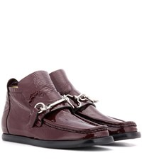 Acne Studios Kerin Embellished Patent Leather Ankle Boots Red