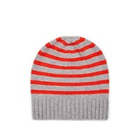 Barneys New York Striped Cashmere Hat Gray