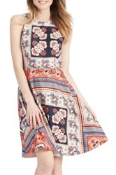 Donna Morgan Paisley Fit And Flare Dress Petite Gray